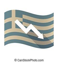 Long shadow Greece flag with a descending graph