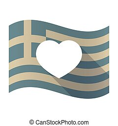 Long shadow Greece flag with a heart