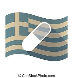 Long shadow Greece flag with a pill