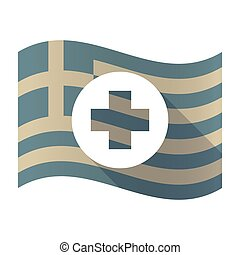 Long shadow Greece flag with a round pharmacy sign