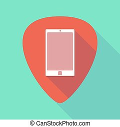 Long shadow guitar pick with a smart phone