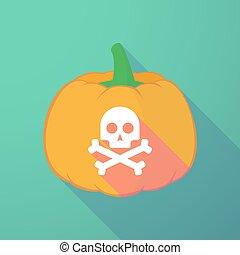 long shadow halloween pumpkin with a skull