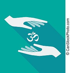 Long shadow hands with an om sign