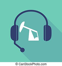 Long shadow headset with a horsehead pump - Illustration of...