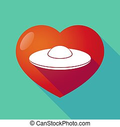 Long shadow heart with  a flying saucer UFO