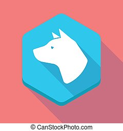 Long shadow hexagon icon with  a dog head