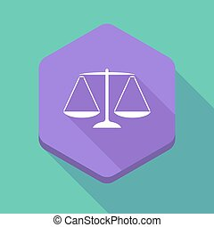Long shadow hexagon icon with a justice weight scale sign