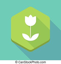 Long shadow hexagon icon with a tulip