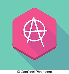 Long shadow hexagon icon with an anarchy sign