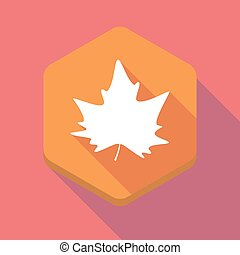 Long shadow hexagon icon with an autumn leaf tree