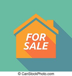 Long shadow house with the text FOR SALE
