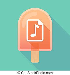 Long shadow ice cream icon with a music score icon -...