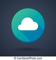 Long shadow icon with a cloud