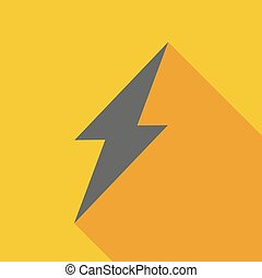 Long shadow icon with a lightning
