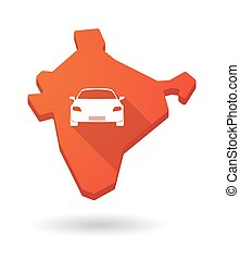 Long shadow India map icon with a car