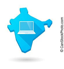 Long shadow India map icon with a laptop