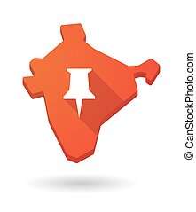 Long shadow India map icon with a push pin
