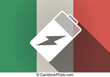 Long shadow  Italy flag with a battery