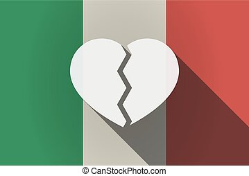Long shadow  Italy flag with a broken heart
