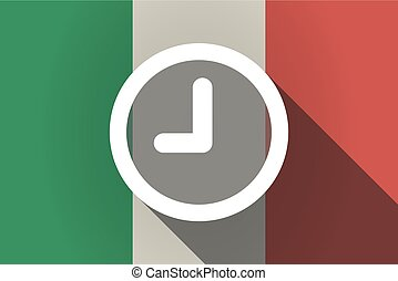 Long shadow  Italy flag with a clock