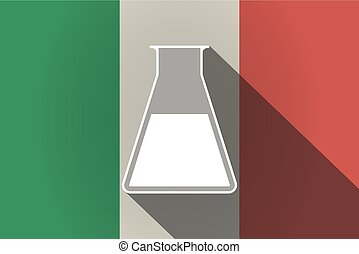 Long shadow  Italy flag with a flask