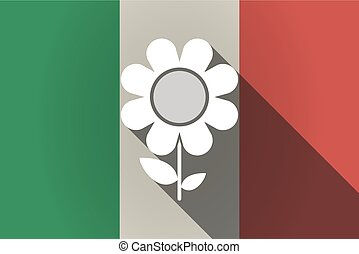 Long shadow  Italy flag with a flower