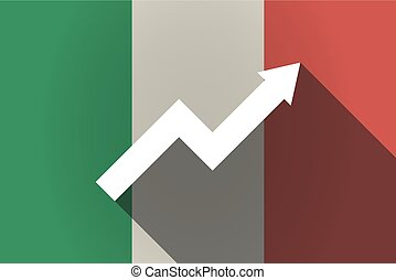 Long shadow  Italy flag with a graph