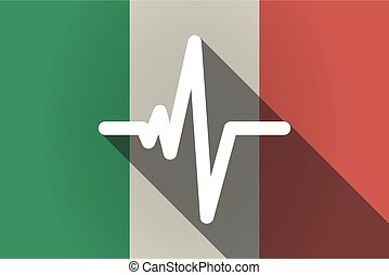 Long shadow  Italy flag with a heart beat sign