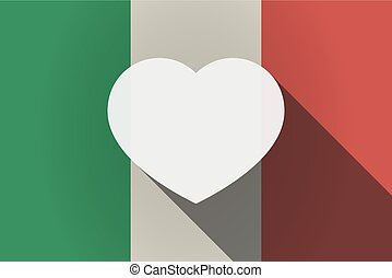 Long shadow  Italy flag with a heart