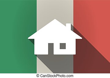 Long shadow  Italy flag with a house