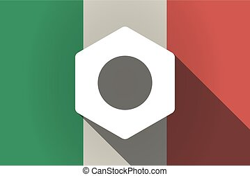 Long shadow  Italy flag with a nut