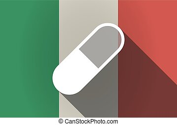 Long shadow  Italy flag with a pill