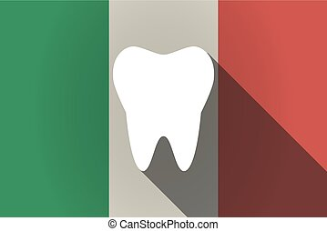Long shadow  Italy flag with a tooth