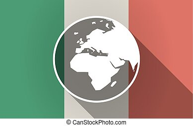 Long shadow Italy flag with   an Asia, Africa and Europe regions world globe