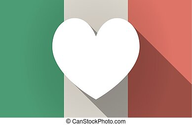 Long shadow Italy flag with  the heart poker playing card sign