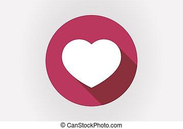Long shadow Japan flag with a heart