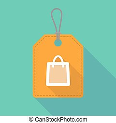 Long shadow label icon with a shopping bag
