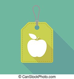 Long shadow label icon with an apple
