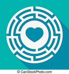 Long shadow labyrinth with a heart