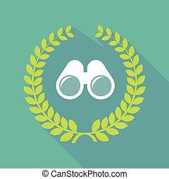 Long shadow laurel wreath icon with a binoculars