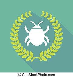 Long shadow laurel wreath icon with a bug