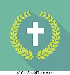 Long shadow laurel wreath icon with a christian cross