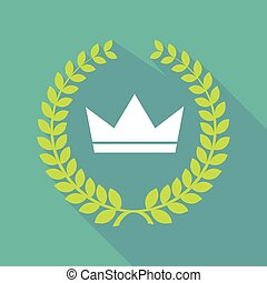 Long shadow laurel wreath icon with a crown