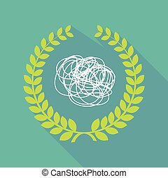 Long shadow laurel wreath icon with a doodle