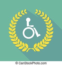 long shadow laurel wreath icon with  a human figure in a wheelchair icon