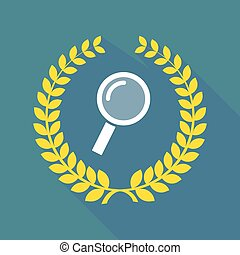 Long shadow laurel wreath icon with a magnifier