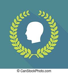Long shadow laurel wreath icon with a male head