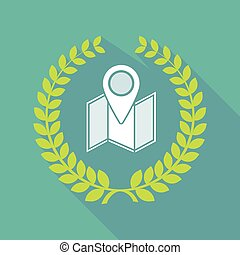 Long shadow laurel wreath icon with a map