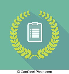 Long shadow laurel wreath icon with a report