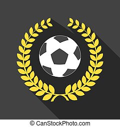 long shadow laurel wreath icon with  a soccer ball
